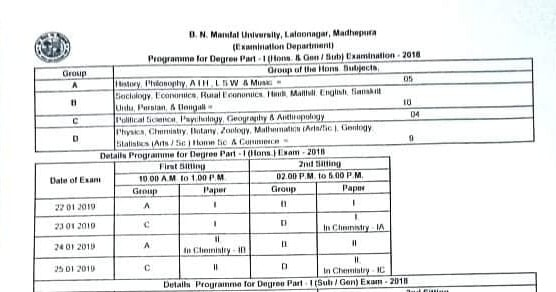 BNMU Part 1 Exam Date and Program Schedule Download Pdf