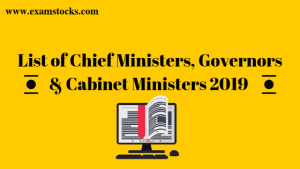 List of Chief Ministers, Governors & Cabinet Ministers 2020 Download PDF