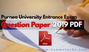 Purnea University Entrance Exam Question Paper 2019 PDF