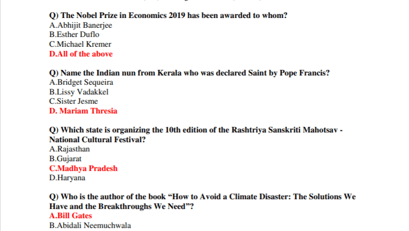 300+ October Current Affairs 2019 PDF Download