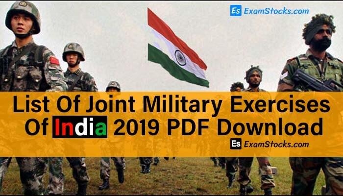 List Of Joint Military Exercises Of India 2019 PDF Download