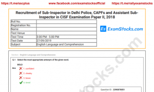SSC CPO Mains Question Paper 2018 PDF Download
