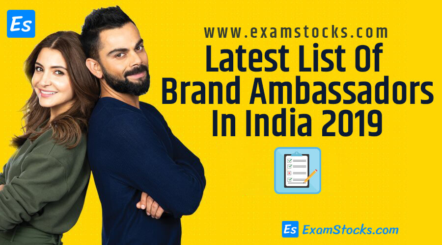 Latest List Of Brand Ambassadors In India 2019 PDF