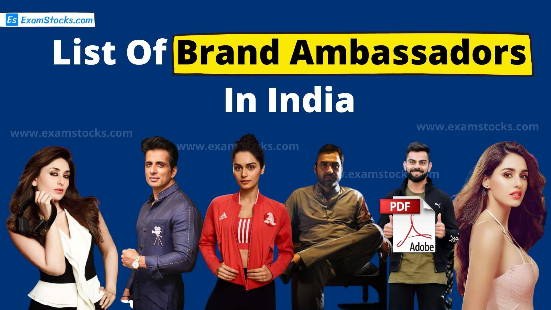 Latest List Of Brand Ambassadors In India 2020 PDF