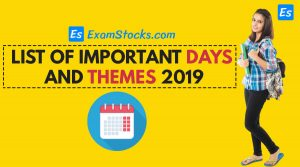 List Of Important Days With Themes 2019 PDF