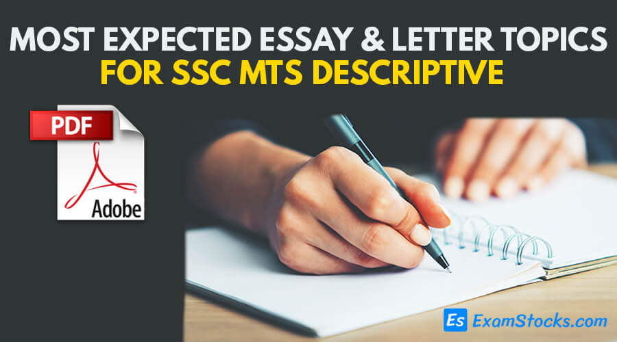 Most Expected Essay & Letter Writing Topics For SSC MTS Descriptive