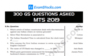 300+ SSC MTS 2019 GK Questions & Answers PDF