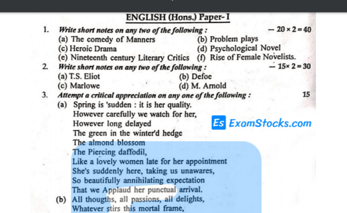 B.A Part 1 English Honours Previous Year Papers PDF