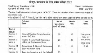 B.Ed Entrance Exam Model Question Paper PDF in Hindi