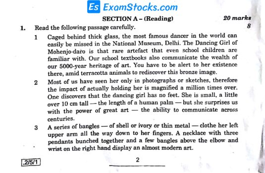 CBSE Class 10th English Question Paper 2020 PDF With Answer Key