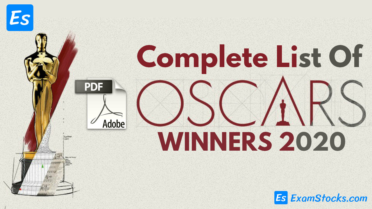 Complete List Of Oscar Winners 2020 & Important Questions PDF