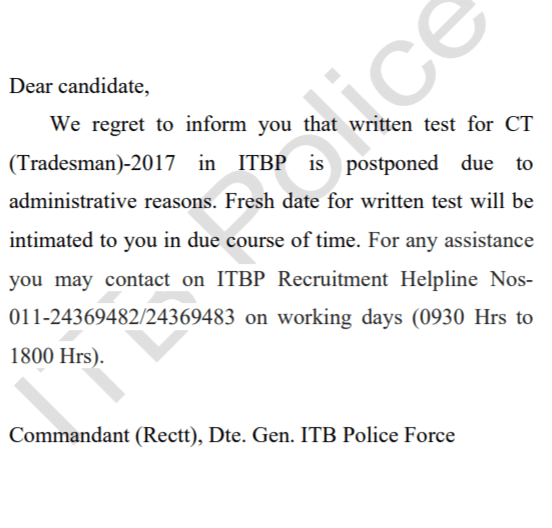 ITBP Constable (Tradesman) Exam 2020 Postponed Check Details