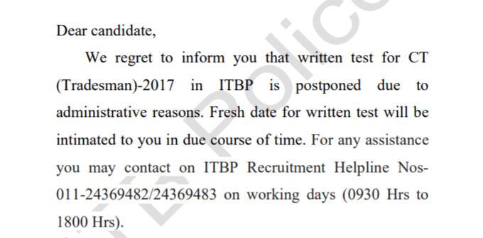 ITBP Constable (Tradesman) Exam 2020 Postponed: Check Details