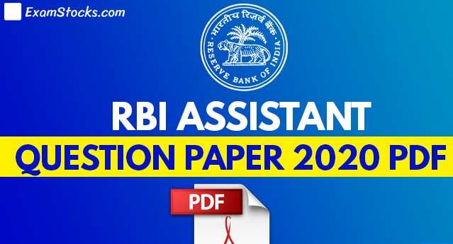 RBI Assistant Prelims Memory Based Question Paper 2020 PDF