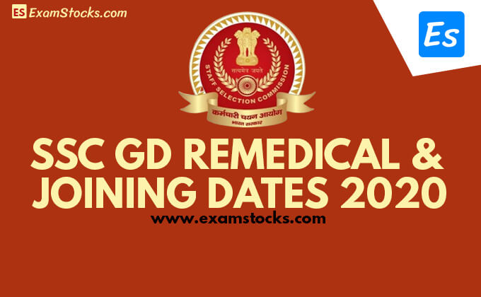 SSC GD Constable Re Medical & Joining Date 2020