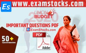Union Budget 2020 Important Questions PDF For All Exams