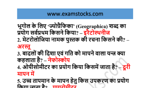 300+ One Liner Geography Questions PDF In Hindi