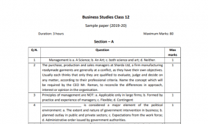 CBSE 12th Business Studies Sample Paper 2020 Download PDF