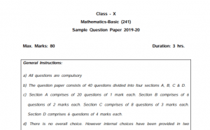 CBSE Class 10th Maths Sample Paper 2020 With Solutions PDF