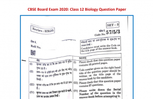 CBSE Class 12th Biology Solved Question Paper 2020 PDF