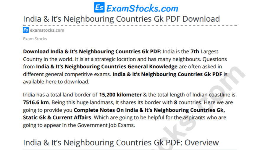 India & It's Neighbouring Countries Gk PDF Download