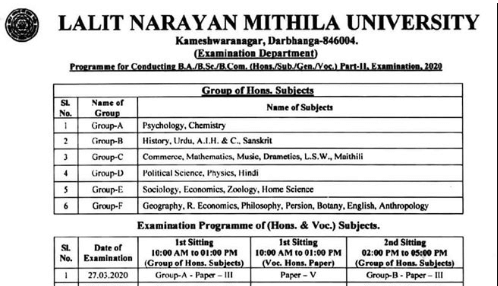 LNMU Part 2 Exam Schedule 2020 & Center List PDF Released