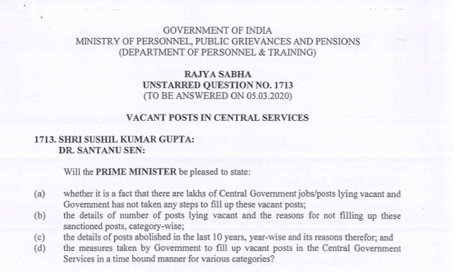 Over 6.83 Lakh Posts Vacant In Central Government Departments