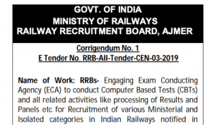 RRB NTPC 2019 ECA Tender Last Date Extended Official Notice