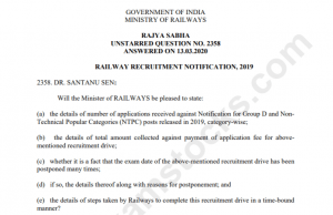 Railways Collected 864 Crores For RRB NTPC & Group D Exams 2019