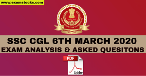 SSC CGL 06th March 2020 Exam Analysis & Questions PDF