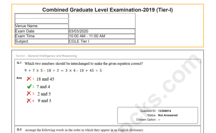 SSC CGL Question Paper 2019 PDF In Hindi & English Download