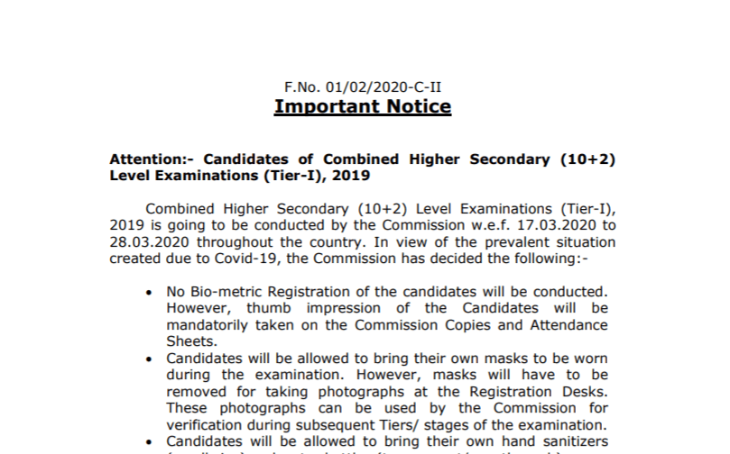 SSC CHSL 2020 Exams On Time Corona Precautions Notice Released