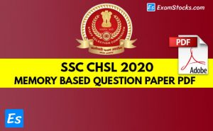 SSC CHSL Memory Based Question Paper 2020 PDF Download
