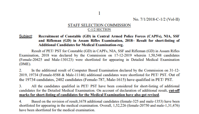 SSC GD Constable 2019 List Of Additional Candidates For DME