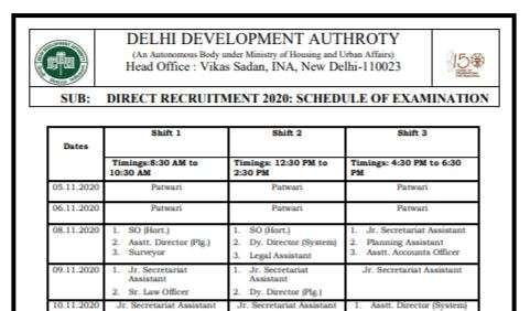DDA Recruitment 2020 Exam Date Released