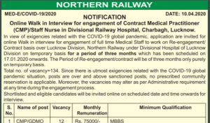 Northern Railway Recruitment 2020 Apply Online For Nurse Staff & Medical Practitioner Post