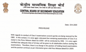 Pending CBSE 10th Exams 2020 Cancelled What About 12th?