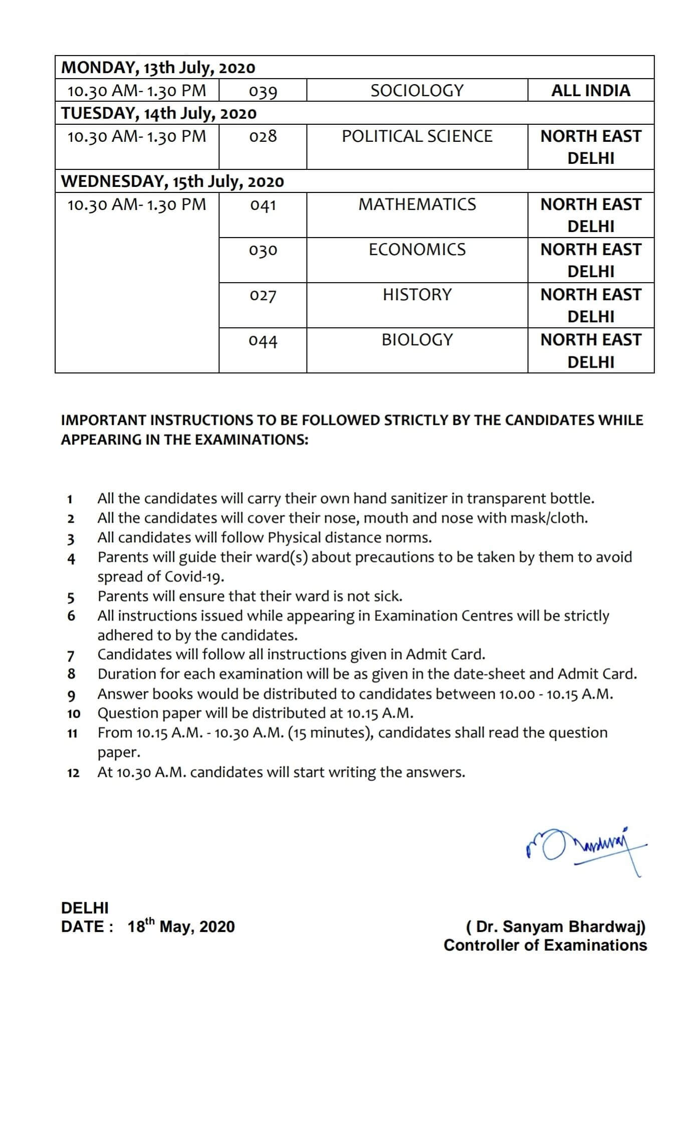 CBSE Date Sheet 2020 For Board Exams