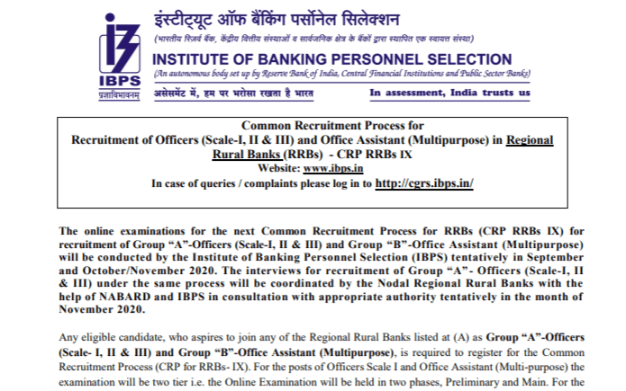 IBPS RRB 2020 Notification PDF Apply For 9,698 Vacancies