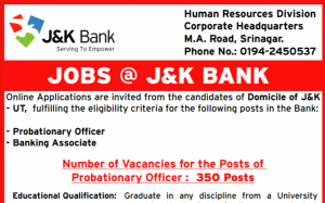J&K Bank PO And BA Recruitment 2020 Apply For 1850 Vacancies
