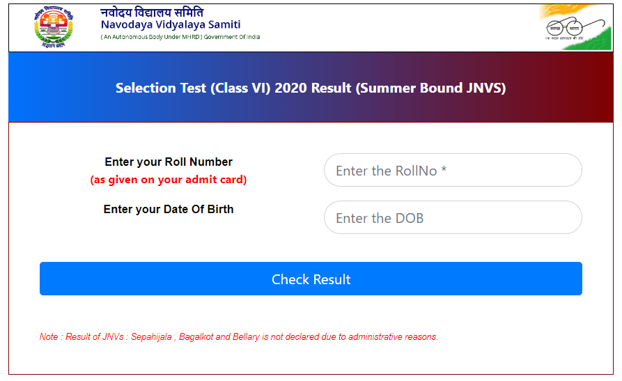 JNVST Results 2020 Declared Check Navodaya Class 6th & 9th Results 2020