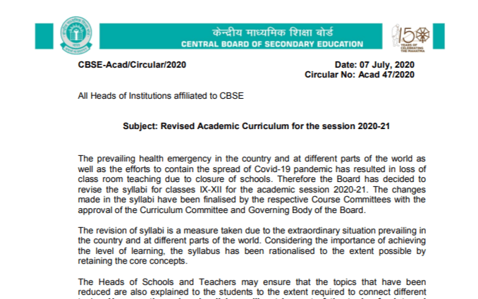 CBSE Reduced Syllabus 2020-21 PDF Check Deleted Chapters & Topics