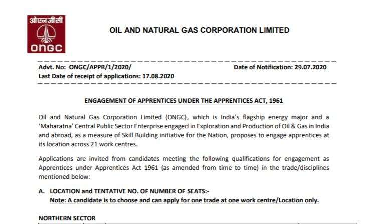 ONGC Apprentice Recruitment 2020 Apply Online For 4182 Posts