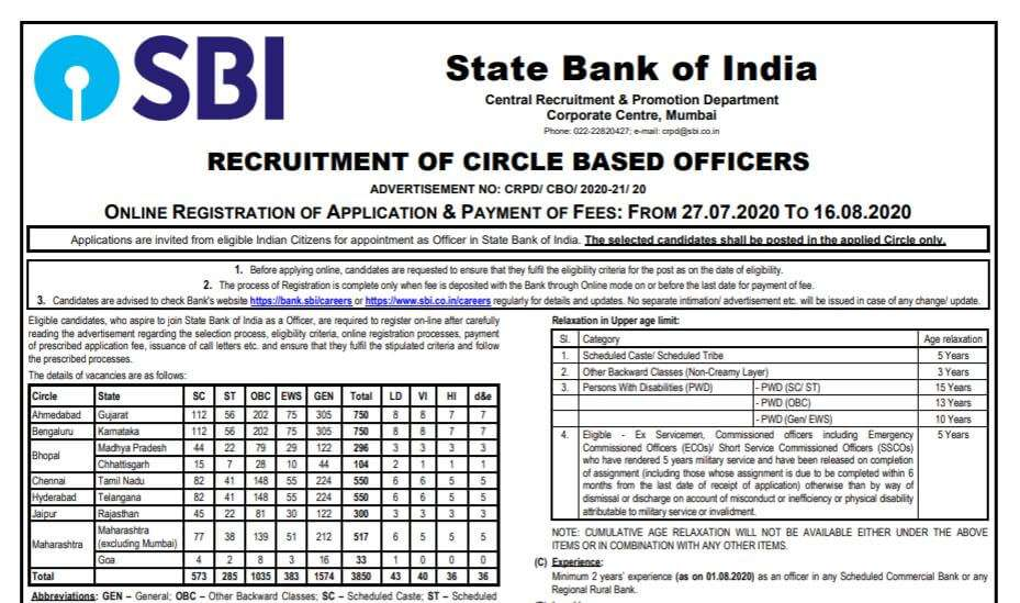 SBI Officer Recruitment 2020 Apply Online For 3850 Vacancies