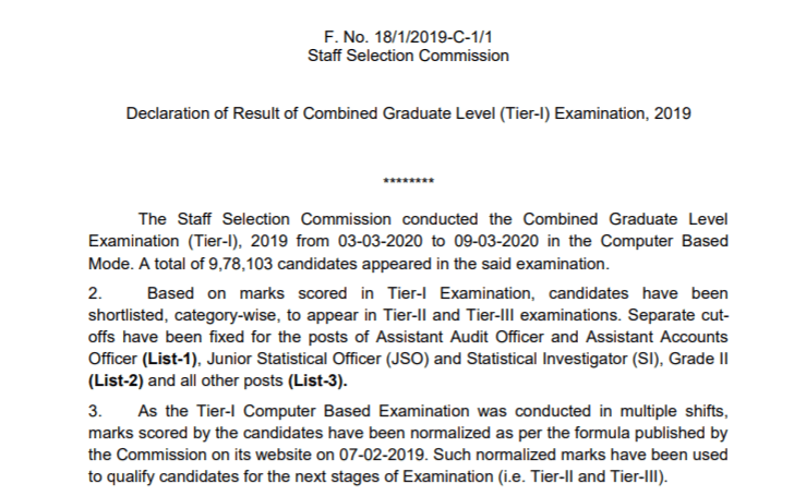 SSC CGL Tier 1 Result 2019 Check Cut Off Marks