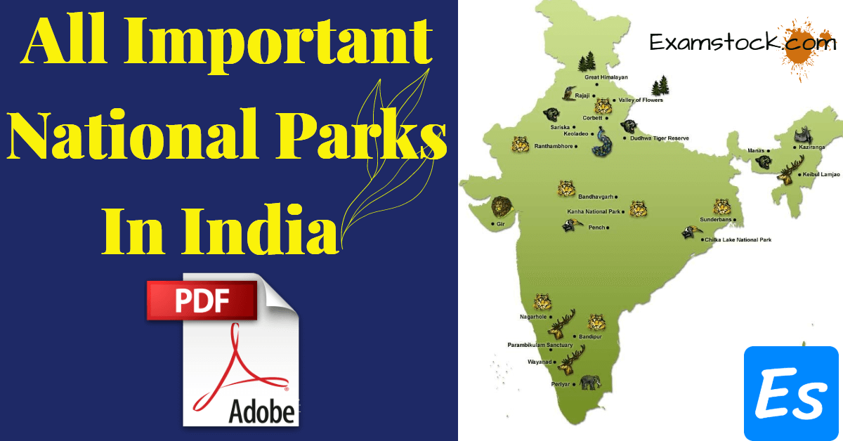 All Important National Parks In India PDF Download