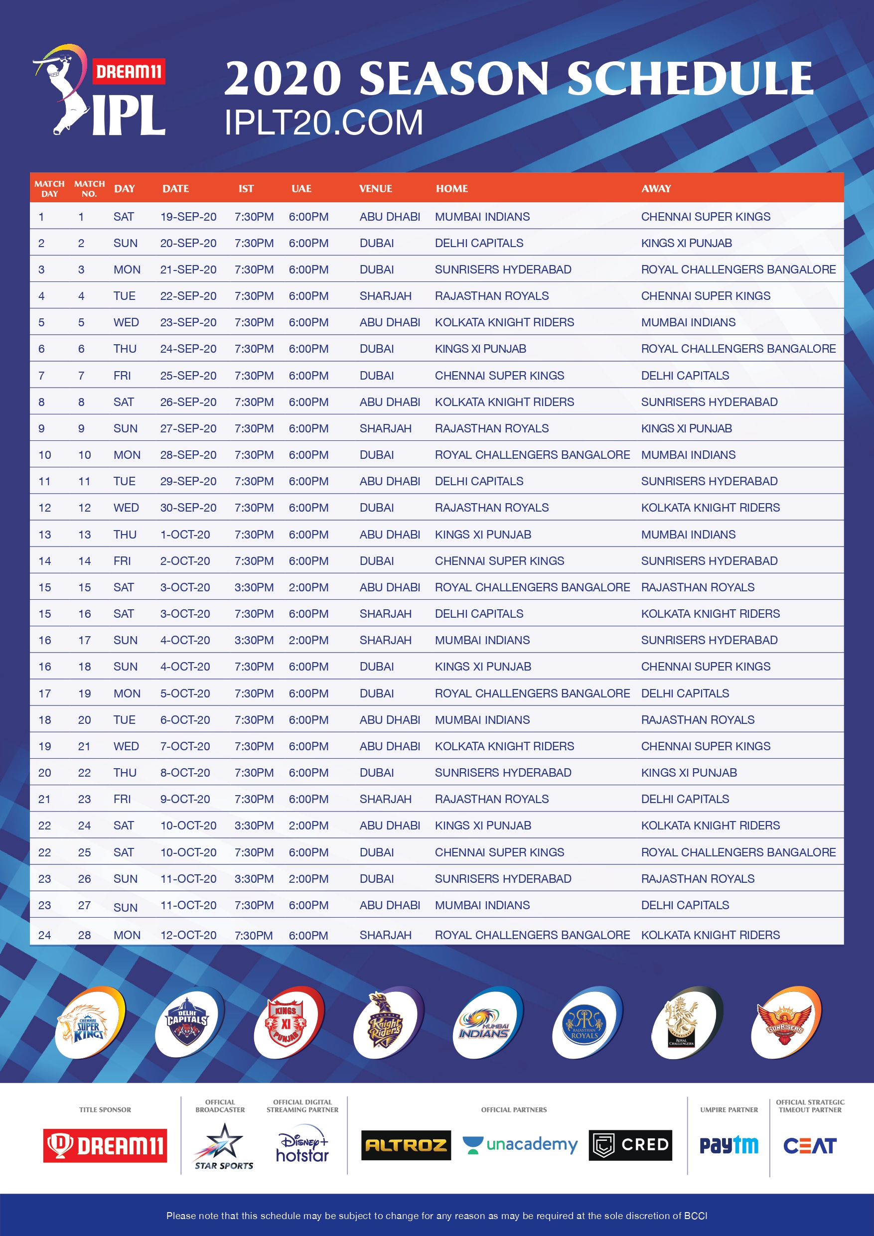 Dream11 IPL 2020 Schedule PDF