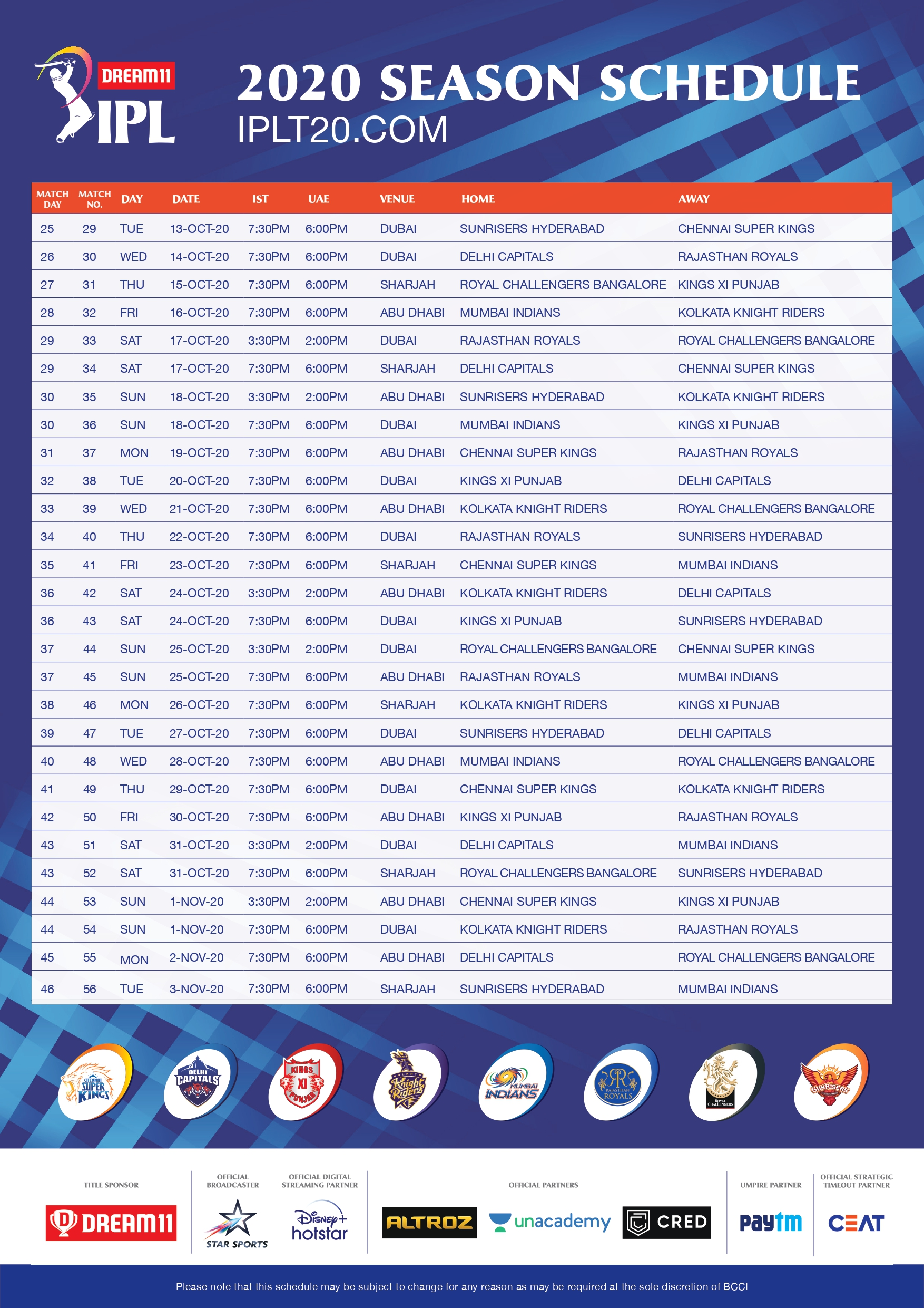 Dream11 IPL 2020 Time Table