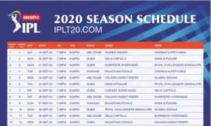 IPL 2020 Schedule PDF Complete Timetable & Match Timings