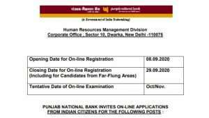 PNB Specialist Officer Online Form 2020 Apply Here